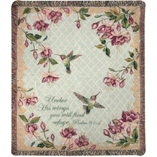 "Hummingbird Inspirational Tapestry Throw Blanket ""Ruby Among the Fuchsias"""