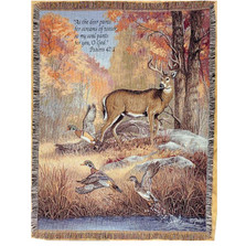 """Deer and Duck Inspirational Tapestry Throw Blanket """"Fur Feathers & Fall"""""""
