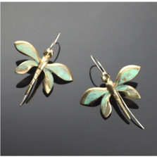 Dragonfly Bronze Wire Earrings | Nature Jewelry
