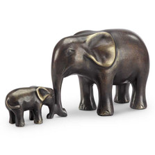 """Elephant and Calf Sculpture """"Affectionate Moment"""" 