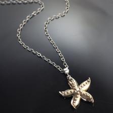 Starfish Bronze Pendant on Silver Chain | Nature Jewelry