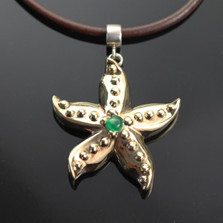 Starfish Bronze Pendant with Jade Necklace | Nature Jewelry