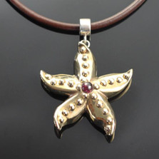 Starfish Bronze Pendant with Garnet Necklace | Nature Jewelry