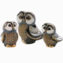 Blue Tawny Owl Family Figurine Set | Rinconada