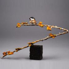 "Chickadee and Aspen Bronze Sculpture ""Aspen Cutie""   72048"