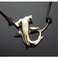 Hammerhead Shark Bronze Pendant Necklace on Cord | Nature Jewelry