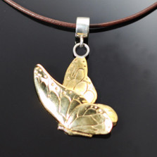 Butterfly Bronze Pendant Necklace on Cord | Nature Jewelry