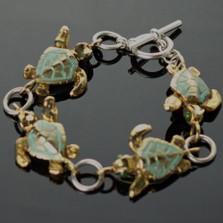 Loggerhead Turtle Bronze & Sterling Silver Link Bracelet | Nature Jewelry