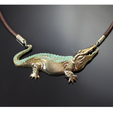 Alligator Bronze Pendant Necklace | Nature Jewelry
