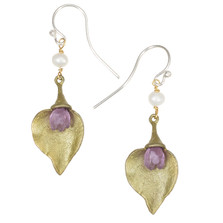 Lilac Bud with Leaf Wire Earrings | Michael Michaud Jewelry | 3208BZ
