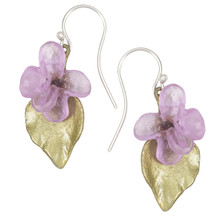 Lilac Flower and Leaf Wire Earrings | Nature Jewelry