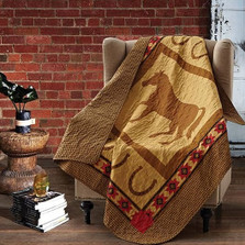 Horse and Horseshoe Quilted Throw Blanket