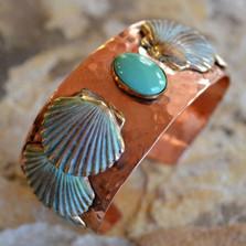 Scallop Shell Copper and Brass Cuff Bracelet | Nature Jewelry