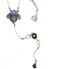 Bee and Flower Y Necklace    Nature Jewelry