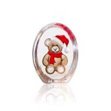 Christmas Teddy Bear Painted Crystal Sculpture | 34258