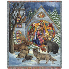 Snowfall Nativity Tapestry Throw Blanket