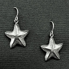 Starfish Pewter Drop Wire Earrings | Nature Jewelry
