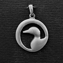 """Loon Pewter Pendant """"Midnight""""   Nature Jewelry"""
