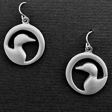 """Loon Pewter Drop Wire Earrings """"Midnight""""   Nature Jewelry"""