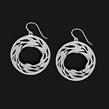 Circle of Life Pewter Drop Wire Earrings | Nature Jewelry