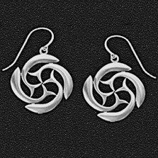 "Dolphin Pewter Earrings ""St Brendan's Cross"" 