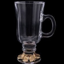 Butterfly Glass Mug, 24K Gold Plated