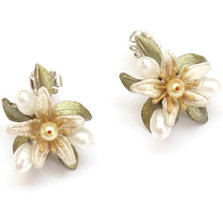 Orange Blossom Button Post Earrings   Nature Jewelry