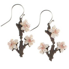 Cherry Blossom Twig Wire Earrings   Nature Jewelry