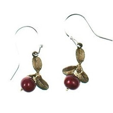 Cranberry Wire Drop Earrings   Nature Jewelry