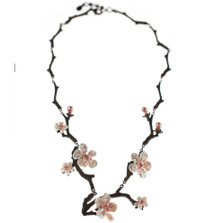 Cherry Blossom Twig Necklace   Nature Jewelry