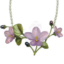 African Violet Necklace Pendant on Pearl | Nature Jewelry