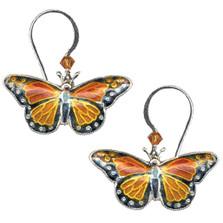 Monarch Butterfly Cloisonne Wire Earrings | Nature Jewelry