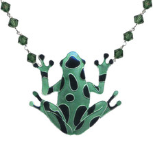 Green Frog Cloisonne Crystal Necklace | Nature Jewelry