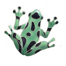 Green Frog Cloisonne Pin | Nature Jewelry