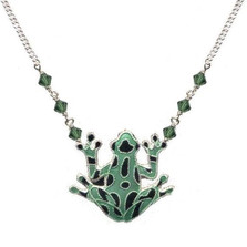 Green Frog Cloisonne Necklace | Nature Jewelry