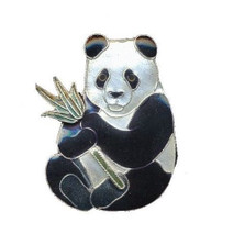 Panda with Bamboo Cloisonne Pin | Nature Jewelry
