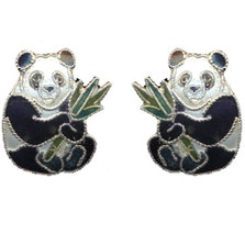 Panda with Bamboo Cloisonne Post Earrings | Nature Jewelry