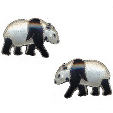 Walking Panda Cloisonne Post Earrings | Nature Jewelry