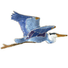 Great Blue Heron Cloisonne Pin | Nature Jewelry