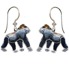 Gorilla Cloisonne Wire Earrings | Nature Jewelry