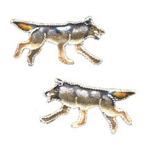 Wolf Cloisonne Post Earrings | Nature Jewelry