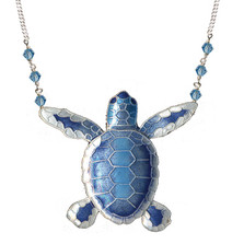 Blue Flatback Hatchling Turtle Cloisonne Large Necklace | Nature Jewelry