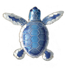 Blue Flatback Hatchling Turtle Cloisonne Pin | Nature Jewelry