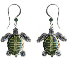Olive Ridley Sea Turtle Cloisonne Wire Earrings | Nature Jewelry