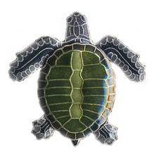 Olive Ridley Sea Turtle Cloisonne Pin | Nature Jewelry