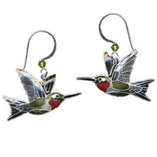 Ruby Throated Hummingbird Cloisonne Wire Earrings | Nature Jewelry