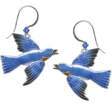 Bluebird Cloisonne Wire Earrings | Nature Jewelry