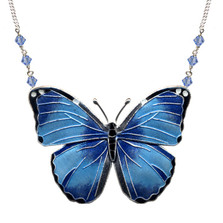 Blue Morpho Butterfly Cloisonne Small Necklace | Nature Jewelry