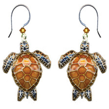 Green Sea Turtle Wire Earrings | Nature Jewelry