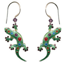 Art Gecko Cloisonne Wire Earrings | Nature Jewelry